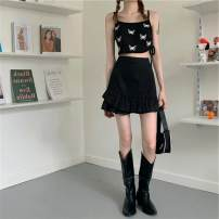 Fashion suit Summer 2020 S. M, average size 63372 ᦇ black skirt, 63371 ᦇ butterfly sling 18-25 years old 63371# polyester fiber
