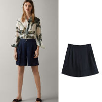 Casual pants Dark blue S,M,L Summer 2020 shorts Straight pants High waist commute routine 25-29 years old