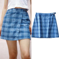 skirt Summer 2020 S,M,L Blue check Short skirt street High waist A-line skirt lattice Type A 18-24 years old 91% (inclusive) - 95% (inclusive) cotton Asymmetry, button Europe and America