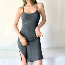 Dress Summer 2021 Light grey, dark grey, black, army green, camel Average size Mid length dress singleton  street High waist Solid color Socket One pace skirt camisole 18-24 years old Type H More than 95% knitting cotton Europe and America