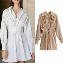 Dress Autumn 2020 White, black, khaki S, M Short skirt singleton  Long sleeves street Polo collar High waist Solid color Socket A-line skirt routine 25-29 years old Type A Frenulum 31% (inclusive) - 50% (inclusive) Chiffon polyester fiber Europe and America