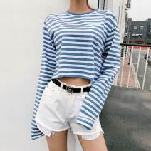 T-shirt S, M Autumn of 2019 Long sleeves Crew neck easy have cash less than that is registered in the accounts routine street cotton 96% and above classic Thick horizontal stripe