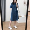 Dress Summer 2021 Dark blue, light blue Average size Mid length dress singleton  Short sleeve commute Polo collar Loose waist Solid color routine 25-29 years old Type H Other / other Korean version 91% (inclusive) - 95% (inclusive) cotton
