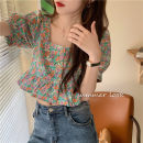 shirt Picture color Average size Summer 2020 other 51% (inclusive) - 70% (inclusive) Short sleeve commute Short style (40cm < length ≤ 50cm) square neck Single row multi button puff sleeve Broken flowers 18-24 years old Self cultivation Korean version