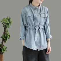 short coat Spring 2021 Average size Denim blue, denim grey black Long sleeves routine routine easy commute routine square neck Single breasted Solid color 96% and above Pocket, embroidery, Multi Pocket cotton cotton