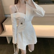 Dress Spring 2021 white S, M Short skirt singleton  Long sleeves commute V-neck High waist Solid color Socket Irregular skirt other Others 51% (inclusive) - 70% (inclusive) cotton