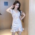 Dress Summer 2021 White, black S,M,L Short skirt singleton  Short sleeve commute V-neck High waist Solid color Ruffle Skirt puff sleeve Others lady Ruffles, hollowed out 51% (inclusive) - 70% (inclusive) cotton