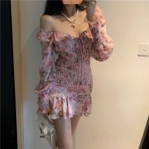 Dress Spring 2021 Pink S,M,L Short skirt singleton  Long sleeves Sweet square neck Decor Ruffle Skirt other Others 51% (inclusive) - 70% (inclusive) cotton