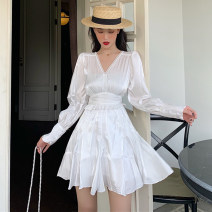 Dress Spring 2021 White, black S,M,L Short skirt singleton  Long sleeves commute V-neck High waist Solid color Socket other puff sleeve Others 18-24 years old Type X Other / other Korean version Hollowing out M3052 31% (inclusive) - 50% (inclusive) Silk and satin other
