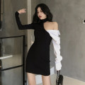 Dress Summer 2021 black Average size Short skirt singleton  Long sleeves commute other High waist Socket other Hanging neck style 18-24 years old Other / other Korean version 31% (inclusive) - 50% (inclusive) other