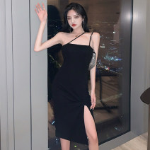 Dress Summer 2021 black S,M,L Middle-skirt singleton  Sleeveless commute One word collar High waist Solid color Socket Irregular skirt camisole Retro 51% (inclusive) - 70% (inclusive) cotton