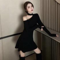 Dress Spring 2021 black Average size Short skirt singleton  Long sleeves commute Crew neck High waist Solid color Socket A-line skirt routine Oblique shoulder 51% (inclusive) - 70% (inclusive) cotton