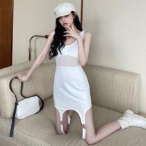 Dress Spring 2021 White, black S,M,L Short skirt singleton  Sleeveless commute Crew neck Solid color Socket Irregular skirt straps 51% (inclusive) - 70% (inclusive) cotton