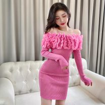 Dress Spring 2021 White, pink, purple, red, yellow, black Average size Short skirt singleton  Long sleeves commute One word collar High waist Solid color Socket One pace skirt routine 18-24 years old Korean version backless M264 polyester fiber