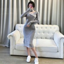 Dress Spring 2021 Apricot, light blue, gray, black, dark pink Average size longuette singleton  Long sleeves commute V-neck High waist Solid color Socket One pace skirt routine 18-24 years old Type H Korean version M239 51% (inclusive) - 70% (inclusive) knitting