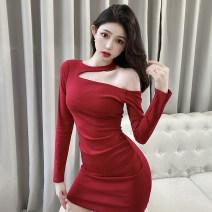 Dress Spring 2021 Red, black Average size Short skirt singleton  Long sleeves commute Crew neck High waist Solid color Socket One pace skirt routine 18-24 years old Korean version zipper M261 polyester fiber