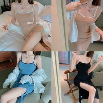 Dress Summer 2021 Apricot, blue, black Average size Mid length dress singleton  Sleeveless commute Crew neck High waist Solid color Socket One pace skirt routine camisole 51% (inclusive) - 70% (inclusive) cotton