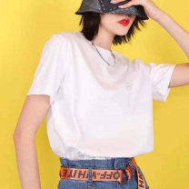 T-shirt white 2 / s, 3 / m, 4 / L, 5 / XL Summer 2021 Short sleeve Crew neck easy Regular routine commute cotton 96% and above Ol style Pinge Dixin