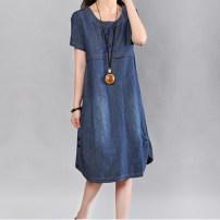 Dress Summer 2020 blue M,L,XL,2XL Mid length dress singleton  Short sleeve commute Crew neck Korean version