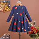 Parent child fashion Dark blue, red, dark blue Plush lining, red plush lining Women's dress female Orange and pomelo Dress spring and autumn princess routine Broken flowers skirt other L,M,S,XL Polyester 100% Class B 2, 3, 4, 5, 6, 7, 8, 9, 10, 11, 12 years old