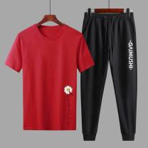 Leisure sports suit summer 4XL,3XL,2XL,XL,L,M Red, black, dark gray, light gray, white Short sleeve Other / other Ninth pants Large size T-shirt A6251 cotton 2021