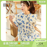 Dress Summer 2021 blue XS S M L Short skirt singleton  Short sleeve commute Admiral High waist Broken flowers Socket Princess Dress routine Others 25-29 years old Oece lady More than 95% cotton Cotton 100% Same model in shopping mall (sold online and offline)