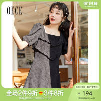 Dress Summer 2021 black XS S M L Middle-skirt singleton  Short sleeve commute square neck High waist Solid color Socket 25-29 years old Oece lady 2I2HS149 More than 95% other Other 100% Same model in shopping mall (sold online and offline)