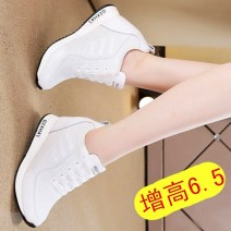 Low top shoes 34,35,36,37,38,39,40 Other / other Round head Mesh Internal elevation High heel (5-8cm) Deep mouth Netting Summer of 2018 Frenulum Korean version Adhesive shoes Youth (18-40 years old) Solid color polyurethane Shoe of sponge cake cloth daily Face dressing