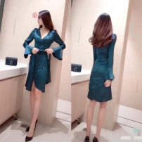 Dress Spring 2021 Dress (down) S,M,L,XL Short skirt singleton  Long sleeves commute V-neck High waist Solid color zipper other pagoda sleeve Others 18-24 years old Type H Ol style 31% (inclusive) - 50% (inclusive)