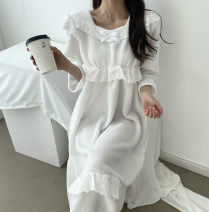 Dress Spring 2021 white Average size Mid length dress singleton  Long sleeves Crew neck High waist Solid color Type A