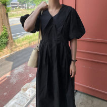 Dress Summer 2021 White, blue, black Average size longuette singleton  Short sleeve commute V-neck Loose waist Solid color Socket Big swing bishop sleeve Others 18-24 years old Type A JF clothing Korean version 81% (inclusive) - 90% (inclusive) other cotton