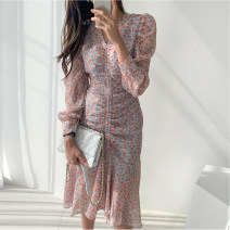 Dress Spring 2021 Pink, black S,M,L longuette singleton  Long sleeves commute other High waist other other Ruffle Skirt routine Others Type A Other / other Korean version