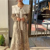 Dress Spring 2021 White, black Average size longuette singleton  Long sleeves commute Crew neck High waist Solid color Socket A-line skirt routine 18-24 years old Type A Frenulum Chiffon polyester fiber