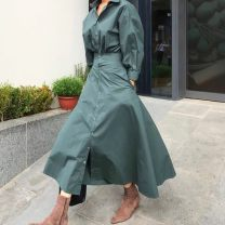 Dress Autumn of 2019 Apricot, dark green S, M longuette singleton  Long sleeves Solid color Single breasted 18-24 years old Other / other