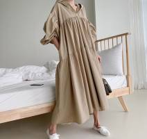 Dress Autumn 2020 Khaki, white, black Average size Mid length dress singleton  Long sleeves Hood Loose waist Solid color Type A