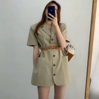 suit Summer 2021 White (with belt), khaki (with belt), orange (with belt) Average size Short sleeve Self cultivation tailored collar Solid color