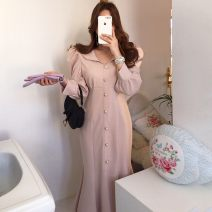 Dress Spring 2020 Apricot, black S,M,L singleton  Long sleeves commute V-neck High waist Solid color Single breasted other puff sleeve Others 18-24 years old 81% (inclusive) - 90% (inclusive) other cotton