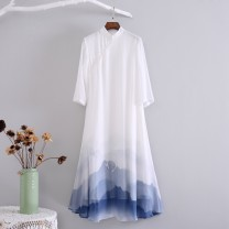 Dress Summer 2021 Off white S,XL,L,M longuette singleton  three quarter sleeve commute stand collar Hand painted other Big swing routine Others 25-29 years old Type A Hanmo Yunxi literature printing Chiffon polyester fiber