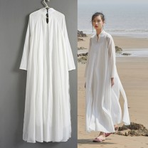 Dress Summer 2021 white S,M,L longuette singleton  Nine point sleeve commute stand collar middle-waisted Solid color Socket A-line skirt routine Others Type A Miaosheng lotus literature Splicing 71% (inclusive) - 80% (inclusive) other cotton