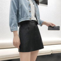 skirt Spring of 2018 S,M,L,XL black Short skirt Versatile High waist A-line skirt Solid color Type A 18-24 years old PQ001 91% (inclusive) - 95% (inclusive) other Other / other PU