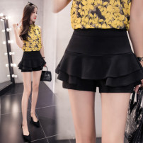 skirt Autumn of 2019 S,M,L,XL,2XL black Short skirt Versatile High waist Cake skirt Solid color Type A 18-24 years old 71% (inclusive) - 80% (inclusive) brocade Other / other nylon Ruffles, folds