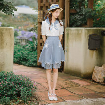 skirt Summer 2020 S,M,L White top, blue skirt Mid length dress Sweet Natural waist Irregular Solid color Type A 25-29 years old LT3004/LT3005 91% (inclusive) - 95% (inclusive) Chiffon Huajian clothes polyester fiber college