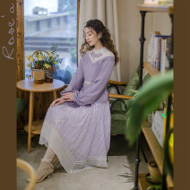 Dress Spring 2021 Purple (Pearl waist chain) S,M,L,XL Mid length dress singleton  Long sleeves commute Crew neck middle-waisted Solid color Socket Big swing other Others 25-29 years old Type X Huajian clothes lady LT3334 81% (inclusive) - 90% (inclusive) Chiffon polyester fiber