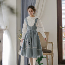 Dress Spring 2021 White (top) , Blue (strap skirt) S,M,L,XL Mid length dress Two piece set Long sleeves commute Doll Collar Loose waist Solid color Socket Big swing Princess sleeve Others 25-29 years old Type X Huajian clothes lady LT3216 / LT3217 More than 95% other polyester fiber