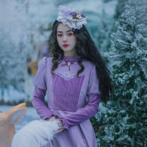Dress Winter 2020 Purple (send flowers) S,M,L,XL Mid length dress singleton  Long sleeves commute stand collar High waist Solid color Socket Princess Dress other Others 25-29 years old Type X Huajian clothes court LT2951 More than 95% other polyester fiber