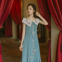 Dress Summer 2020 Blue lake S,M,L,XL Mid length dress singleton  Sleeveless commute One word collar middle-waisted Solid color Socket Big swing other camisole 25-29 years old Type H Huajian clothes court More than 95% other polyester fiber