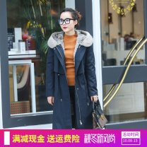 leather and fur Autumn of 2019 3QR Navy blue S.,M.,L.,XL.,2XL. have more cash than can be accounted for Long sleeves commute Hood routine zipper P337 Fur collar 96% and above