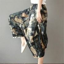 Casual pants Average size Summer of 2019 Cropped Trousers Wide leg pants Natural waist commute routine 25-29 years old 30% and below Other / other hemp ethnic style pocket hemp