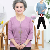 Middle aged and old women's wear Summer of 2019, spring of 2019, autumn of 2019 ethnic style shirt easy Two piece set Solid color Over 60 years old Cardigan thin Crew neck routine routine Embroidery other 81% (inclusive) - 90% (inclusive) Single breasted three quarter sleeve Ninth pants