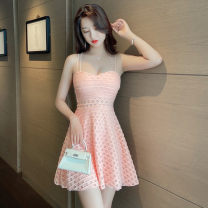 Dress Summer 2021 White, black, pink S,M,L,XL Short skirt singleton  commute V-neck middle-waisted Solid color Big swing camisole 18-24 years old Type A Korean version Hollowed out, bare back
